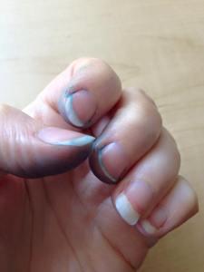 Inky fingers.