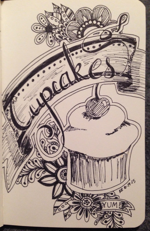 #inktober, cupcakes