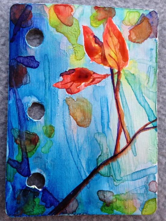 #nanojoumo2015, watercolor, leaves, mini art journal