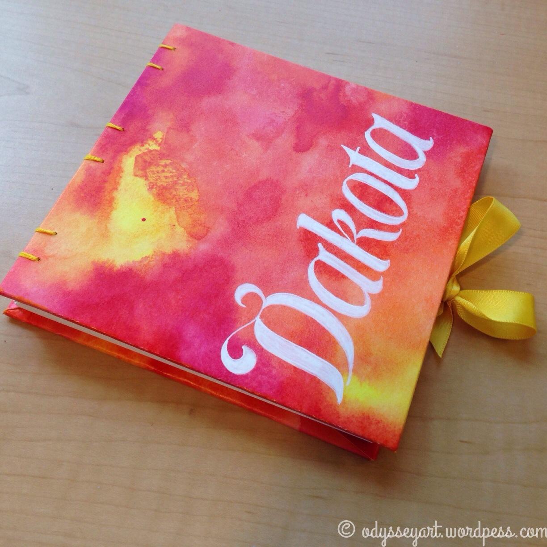 Dakota's finished, personalized sketchbook.